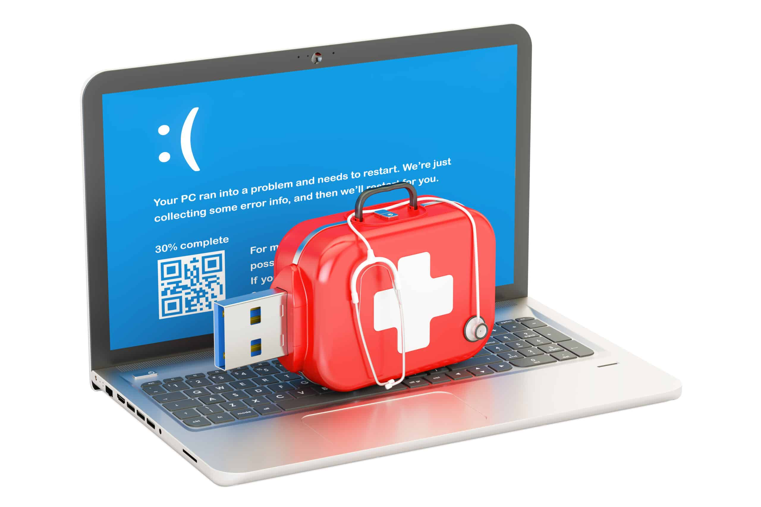 Laptop, repair and service concept. 3D rendering isolated on white background